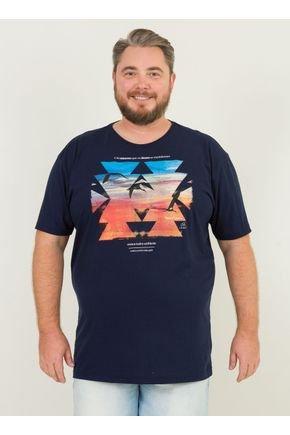 1 camiseta masculina plus size horizonte skate urien azul marinho
